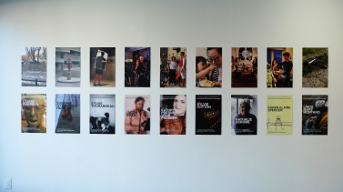large view: performance photos paired with posters announcing Performative Encounters With series